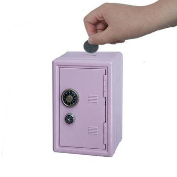 Mini Iron Coin Safe Piggy Bank Lock The Small Metal Money Box Diy Plain