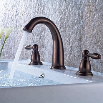 Bronze color cold and hot double handle exquisite basin water tap