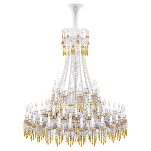 Zenith Charleston Chandelier yellow 64L baccarat crystal glass lantern lighting luxury for France's imperial palace