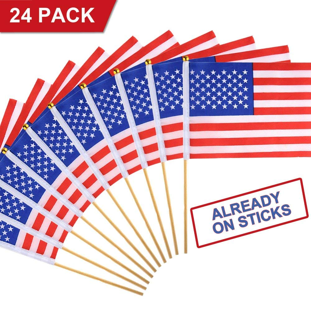USA American Flags 24 Pack Small with Wood Pole Hand Held Stick