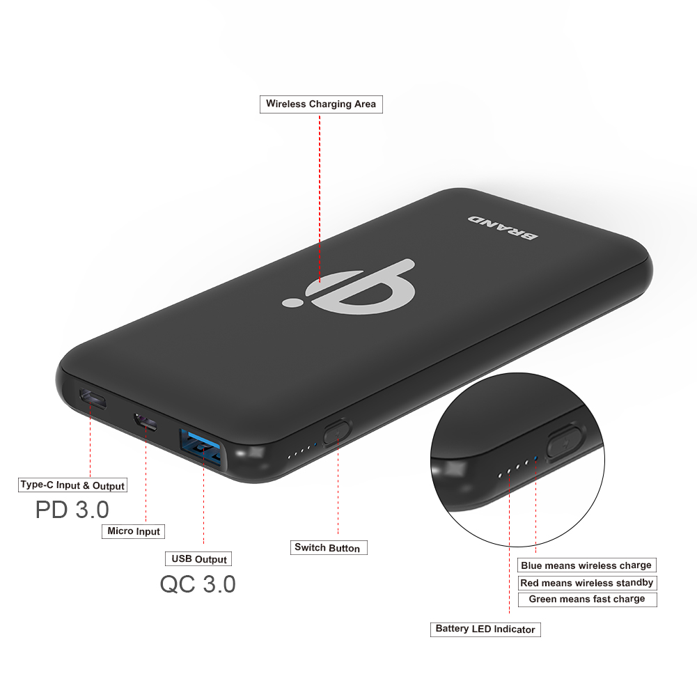 Wireless Portable Charger 10000mAh 10W Fast Qi Type C Power Bank