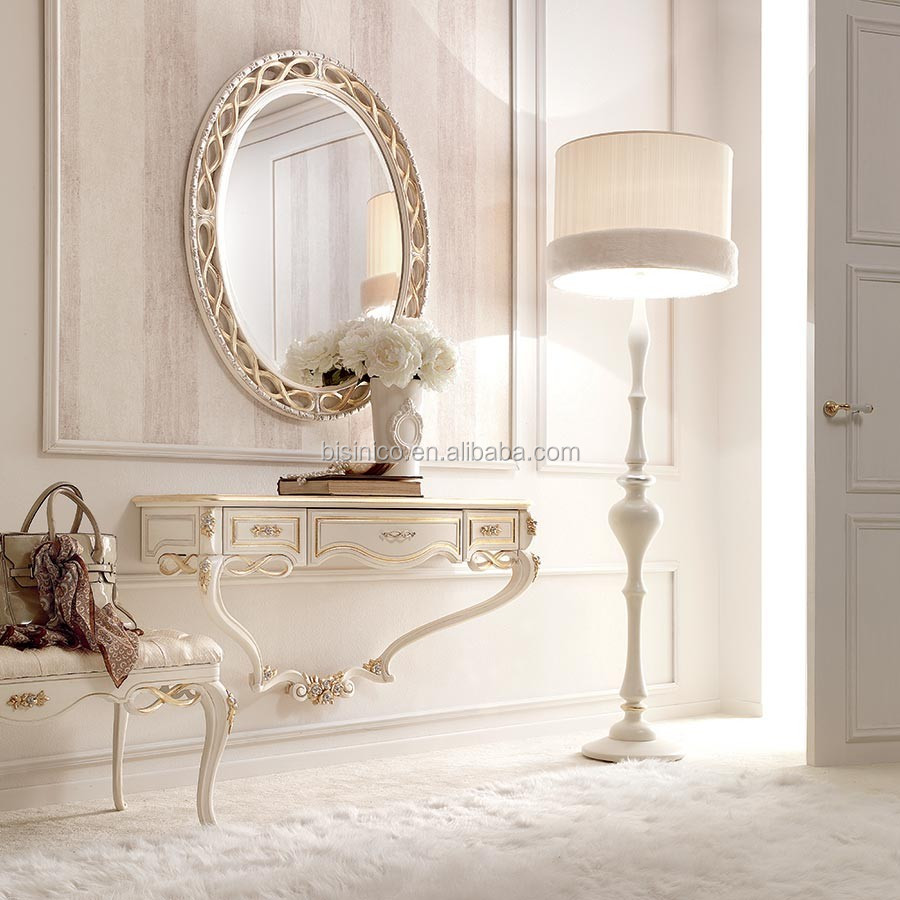 Bisini Elegant French Style Antique White Color Wall Console Table With Mirror For Living Room Furniture BF05-160624-9