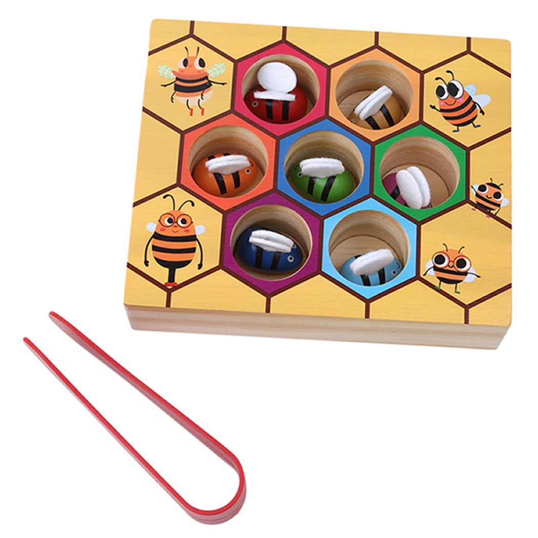 LALANG Wooden Lovely Bee Picking Toy Catching Practices for Baby Early Educational Toddler Game Colorful Beehive Box