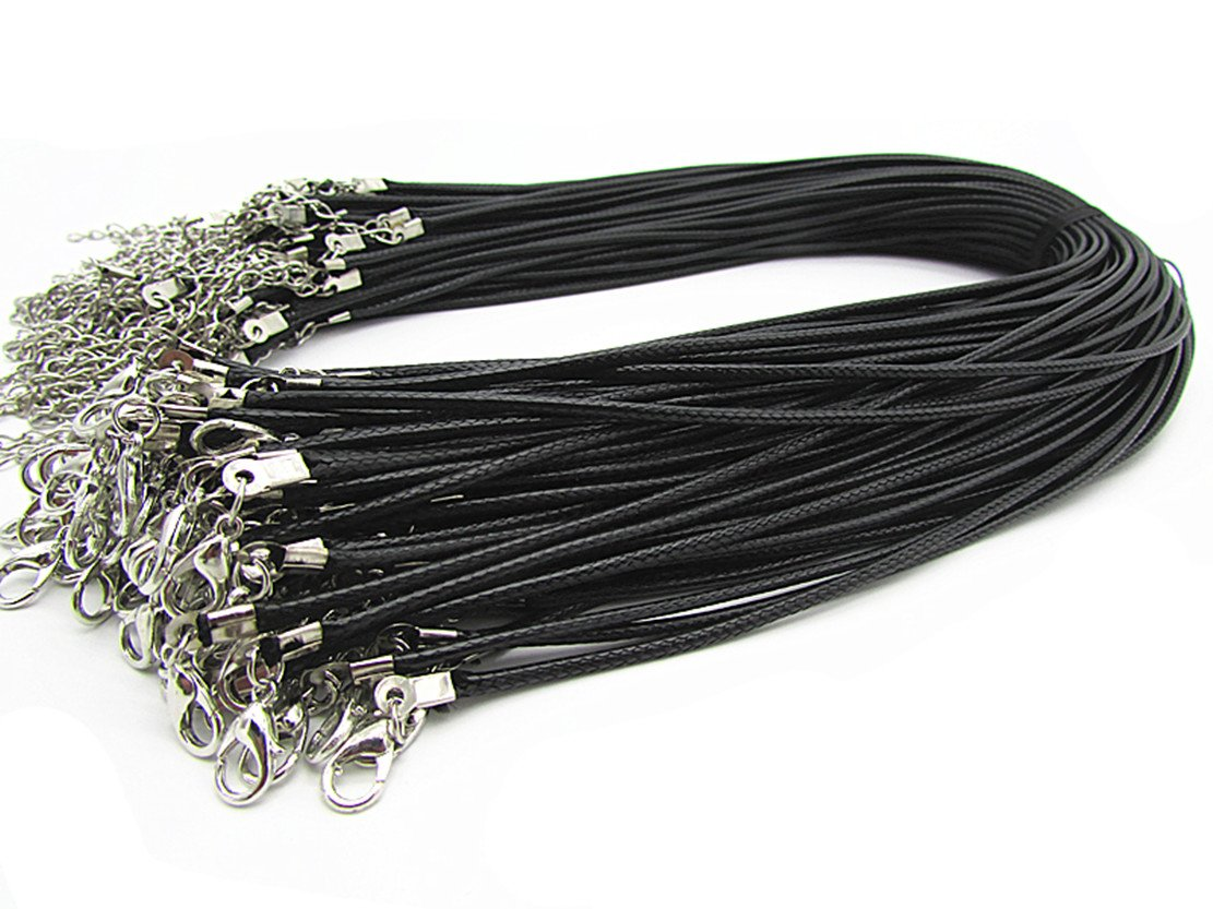 24 Black Braided Leather Cord Rope Necklace Chain with Lobster Claw Clasp 2.0mm 20Pcs