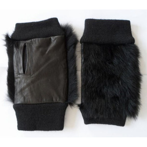 Ladies fingerless rabbit fur leather mitten