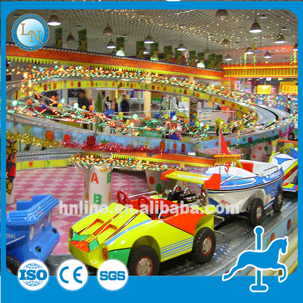 Electric amusement kiddie car games outdoor funfair playground track train rides mini shuttle for sale