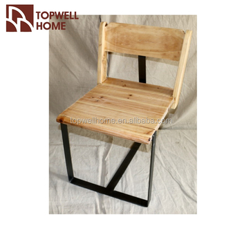 Simple Comfortable Metal Leg Wooden Short Back Chair