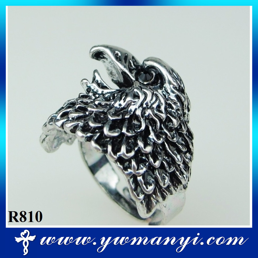 The eagle head indian style ring antique silver ring R810