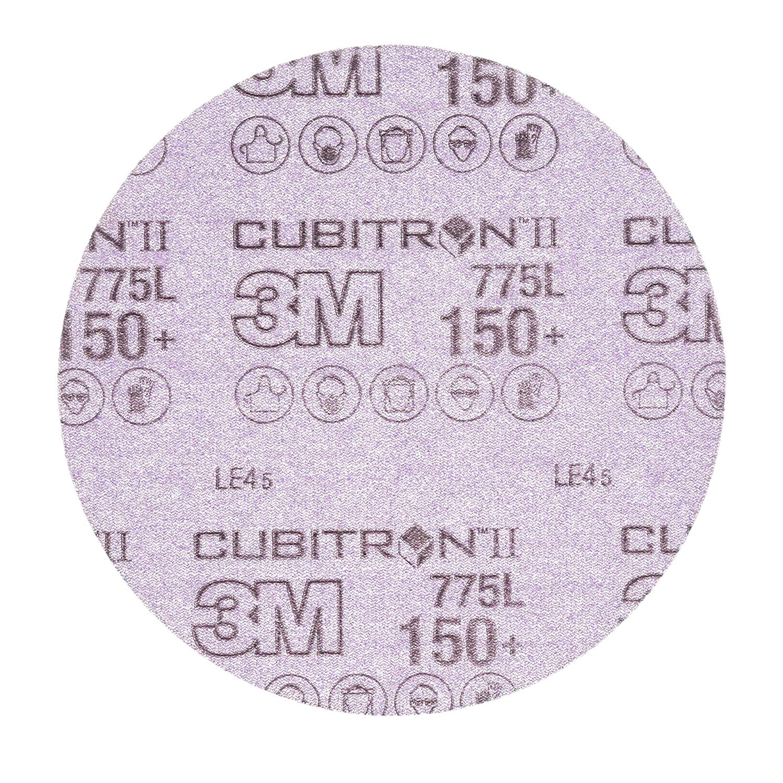 "Cubitron II 87041 3M Hookit Film Disc 775L, 6 in x NH 150+ film 3 MIL, Film, Backing, Precision Shaped Ceramic Grain, 6"", Purple (Pack of 50)"