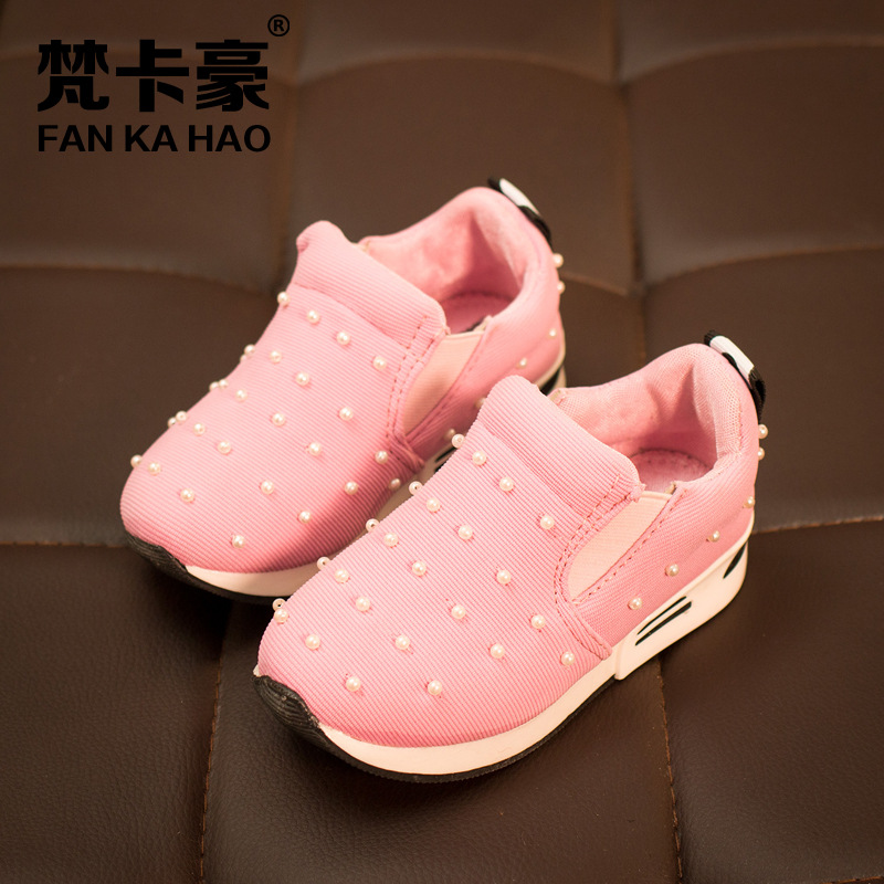 new Children s shoes girls boys Super soft and comfortable With pearls sneakers kids loafers school