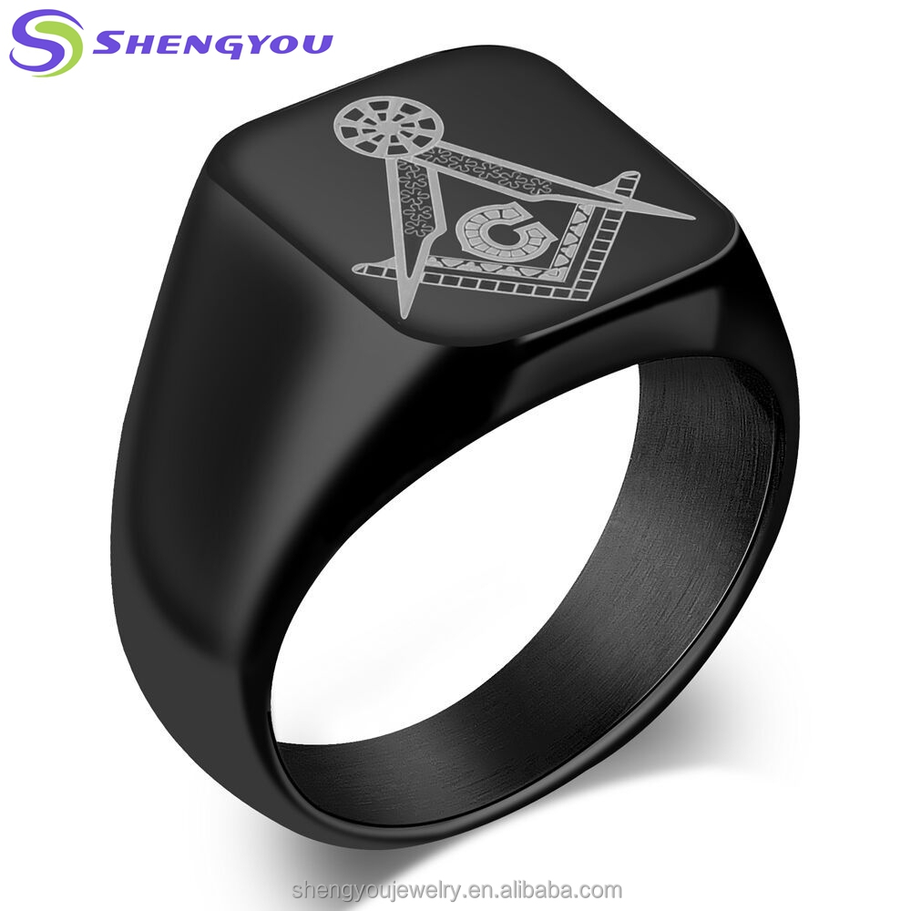 China Wholesaler Classical Black Metal Texture Masonic AG Stainless Steel Ring