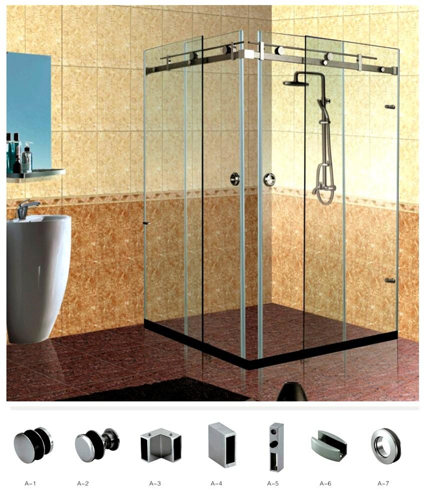 Stainless Steel Frameless Sliding Shower Hardware Enclosure For 90 Degree Double  Door Corner System