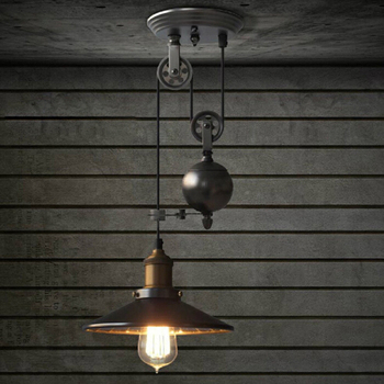 Adjule Wire Single Pulley Pendant Lamps Lighting