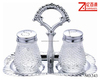2pcs diamond shape glass salt pepper pot