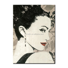 Canvas Wall Art Framed Oil Painting HD Printed Canvas Prints Abstract Portrait Oil Painting Red Lip Beauty Classical Portraits