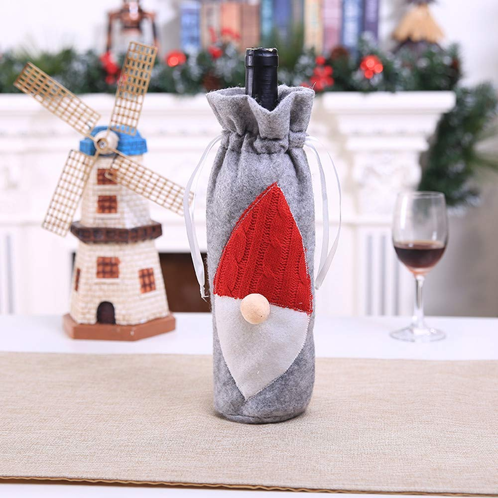 SUJING Christmas Wine Bags with Drawstrings,Wine Bags Gift, Reusable Bottle Bags,Christmas Drawstring Red Wine Bottle Cover Bags (B)