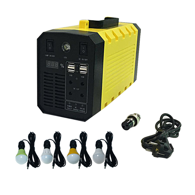 500W all in one solar inverter with 35W solar panel kits and 4pcs 3W superbright led bulbs