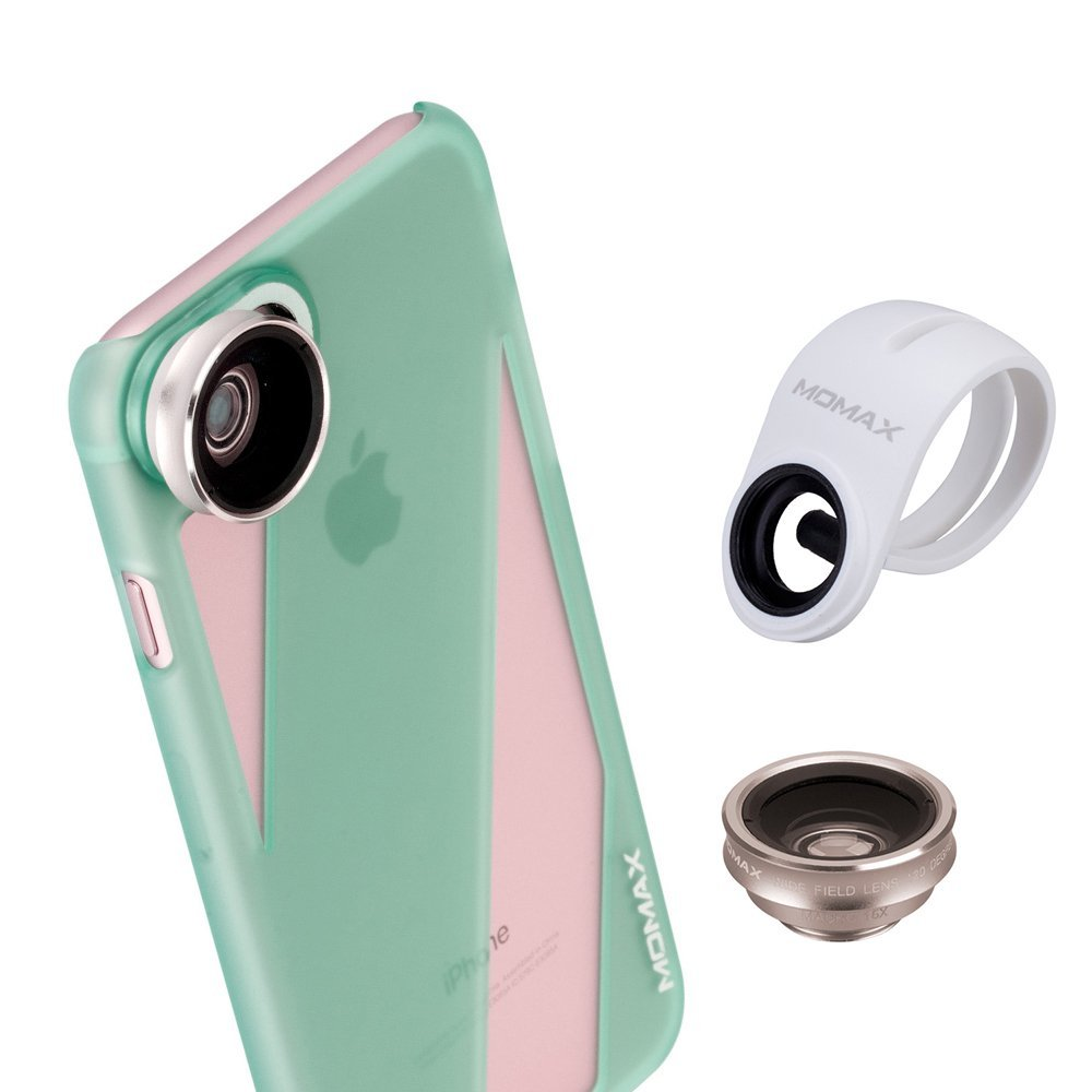 iphone 7 Camera Lens Case,MOMAX 2 in 1 Phone Lens Kit(Wide Angle Lens+Macro Lens) with iphone 7 Protect Case,Blue