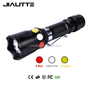 Jialitte F024 Rechargeable 18650 Emergency Cell Phone Power Bank Railway Torch Tri Color Signal Light Flashlight