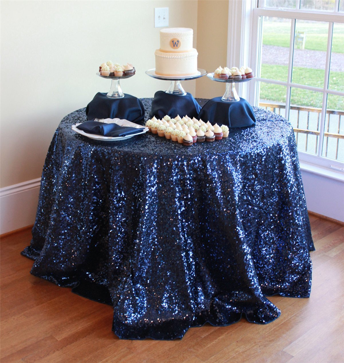 ShinyBeauty !! Navy Blue Sequin Tablecloth 120in Round Sequin Tablecloth/Overlay for Wedding/Party/Anniversary, Can Choose Your Sizes (120in Round)