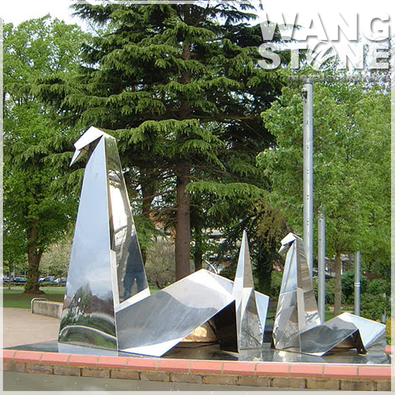 Custom Large Stainless Steel Origami Crane Garden Sculpture