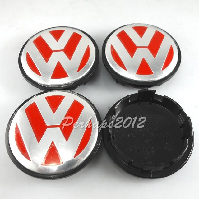 4x красный Volkswagen VW центра колеса концентратор 65 мм заглушки знак герба 3B7 601 171 VW GOLF JETTA MK5 PASSAT B6 CC GTI 3B7601171