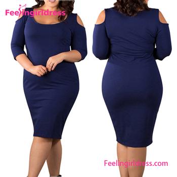 b59337beba 3XL Plus tamaño frío azul hombro Bodycon vestido de graduación para las  mujeres gordas