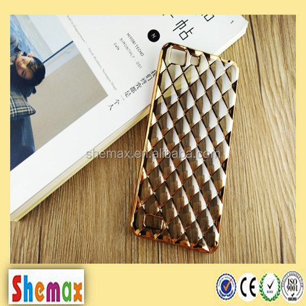 3D netted electroplating clear bumper case for huawei mate 8