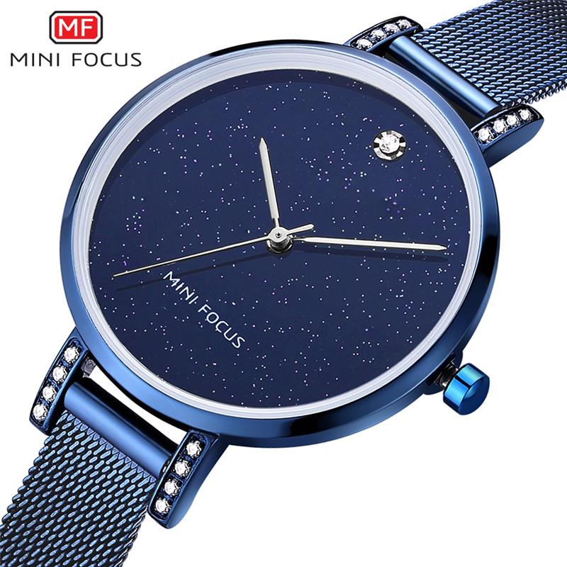 Mini Focus Casual Waterproof Leather Strap and Alloy Bracelet Luxury Ladies Watches with Japan Movement