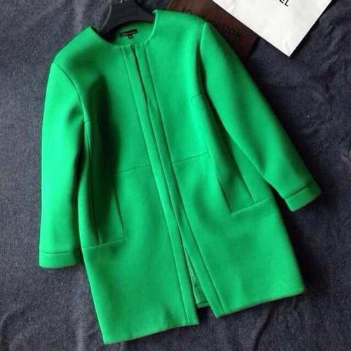 Женщины зима сплошной цвет шерстяная ткань пальто пальто для женщины, Желтый, Зеленый, Синий c41859