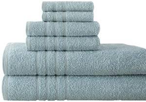 Pacific Coast Textiles Spa Collection Luxurious Egyptian Cotton 6PC Towel Set, Ice Blue