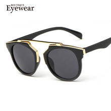 BOUTIQUE New Fashion Plastic Wrap Metal Cat Eye Glasses Vintage Sunglasses Women Men Brand Designer Coating sunglass gafas