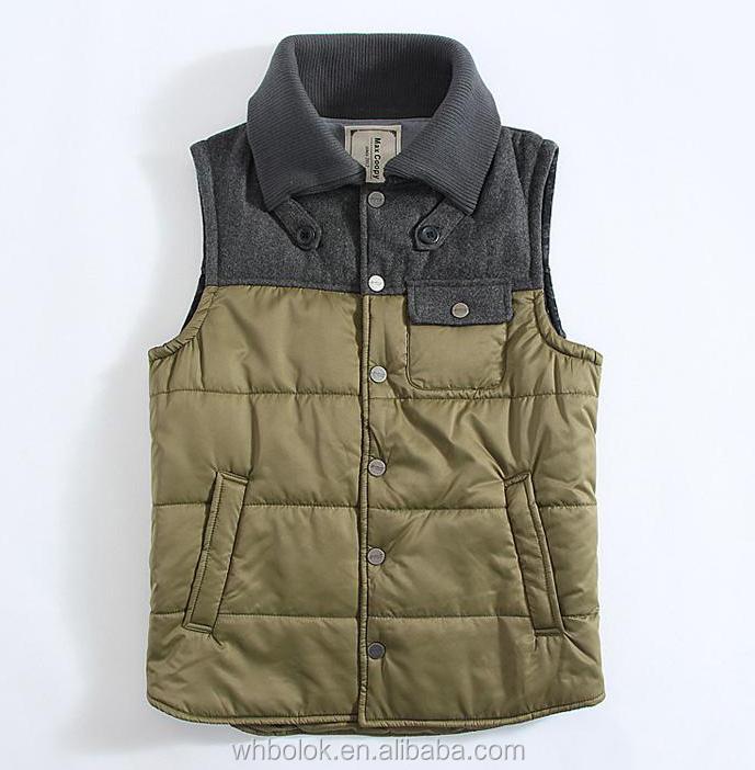 Servicio OEM estilo Casual ropa deportiva de invierno chaleco acolchado de poliéster para hombres