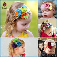 Precious Handmade Soft Elastic Felt Flowers Newborn Baby Girl Headbands with Mixed Design Hair Accessories Set