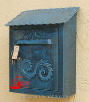 Antique embossed pattern decorative wall mounted cast iron mailbox