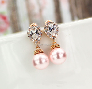 Gold Ear Tops Designs Cubic Zirconia Diamond Dangle Pearl Bridesmaid Earring