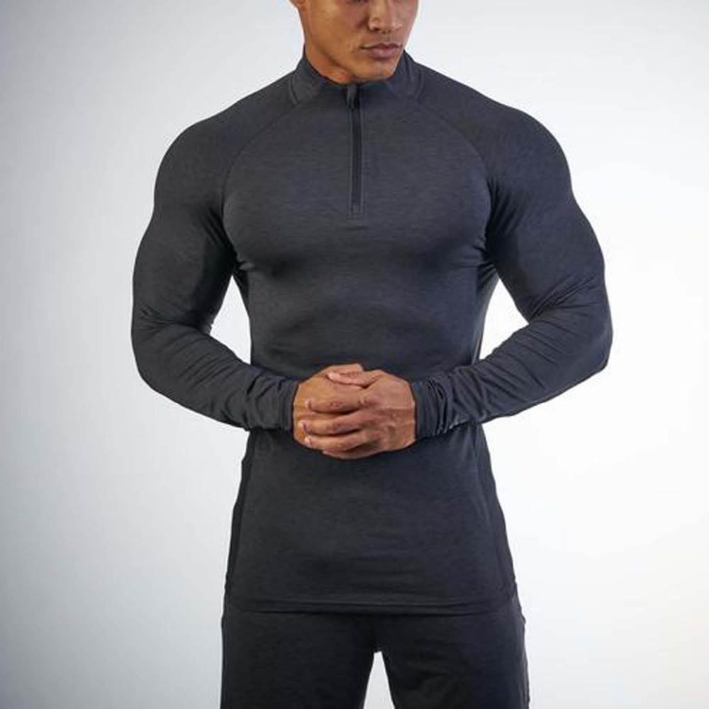 Xiamen Manufacturer Fashion Fitness Apparel Men 's Black 1/4 Zip Pullover Gym custom compression Pullover