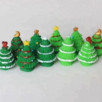 Resin Christmas Trees Figures Miniature Garden Figurine Dolls House Toys DIY Micro Landscape Accessories Wholesale