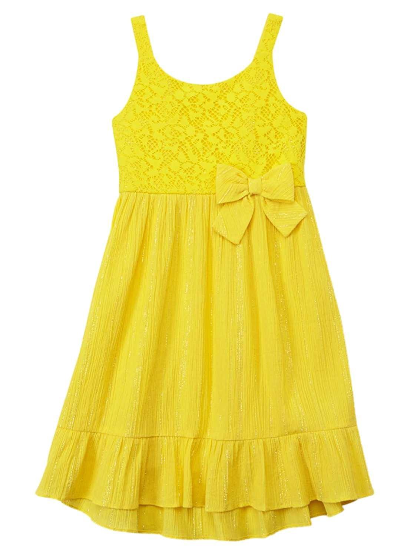 0b1bb0c1c0ff Get Quotations · Youngland Little Girls Yellow & Silver Flowy Sun Dress  Sundress