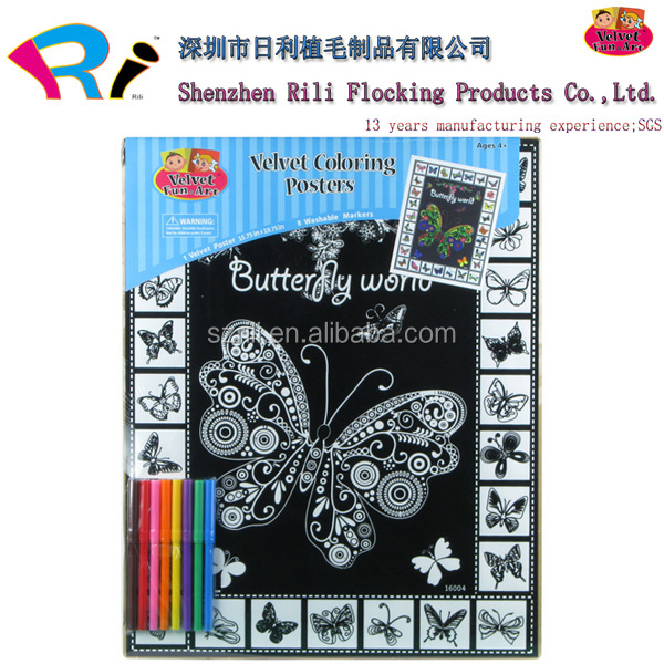 Customized Velvet Art Colouring Boards Wholesale With Felt Tip Pen ...