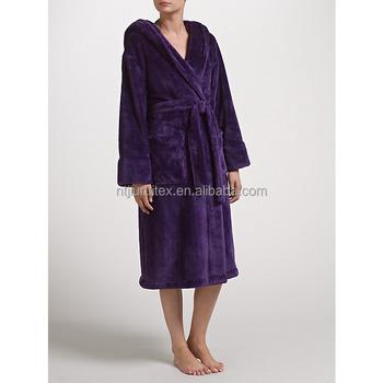 Women\'s Plush Fleece Hooded Bath Robe,Winter Thick Fleece Dressing ...