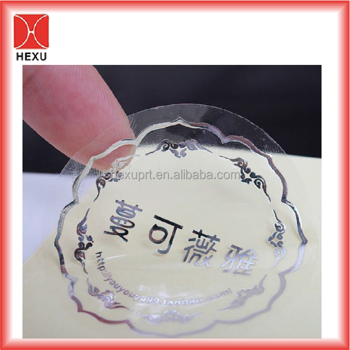 Custom self adhesive clear vinyl logo printing sticker label print plastic waterproof pet window decal transparent pvc stickers