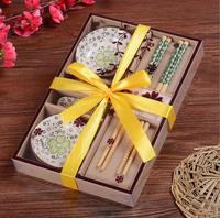 2 Pieces Chopsticks Ceramic Sushi Dish Set