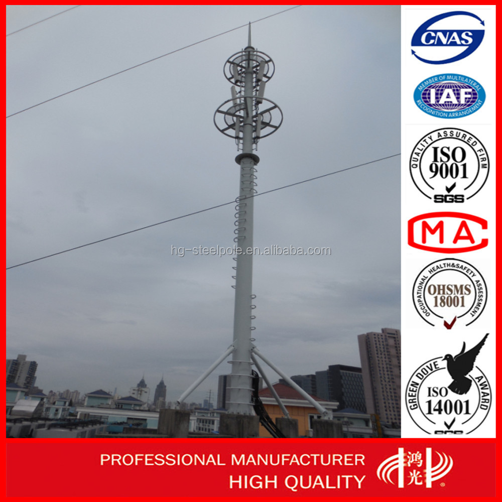 Zinc- Coated Q235 Antenna Tower Telecommunication Steel Monopole Tower