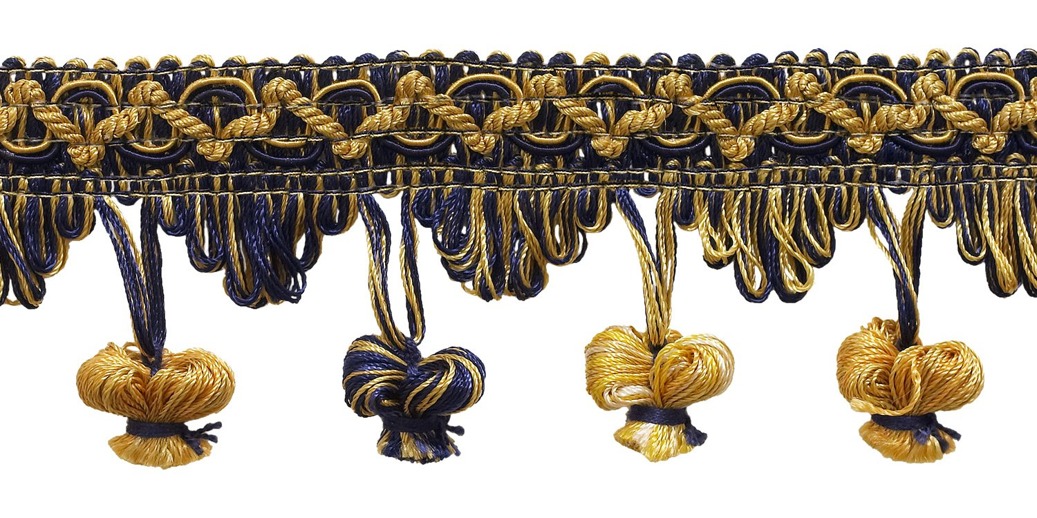"""DecoPro 5 Yard Value Pack of Gold, Navy Blue 2"""" Imperial II Onion Tassel Fringe Style# NT2503 Color NAVY GOLD - 1152 (15 Ft)"""