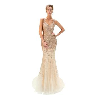 2018 Nieuwe Mermaid Lange Prom Dress Gold Kralen Applicaties Party Prom Jassen sexy back Night Gown Avond Party Dress PE20