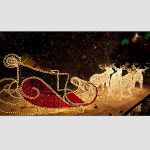 Factory price 3D led holiday lights large outdoor santa sleigh with reindeers