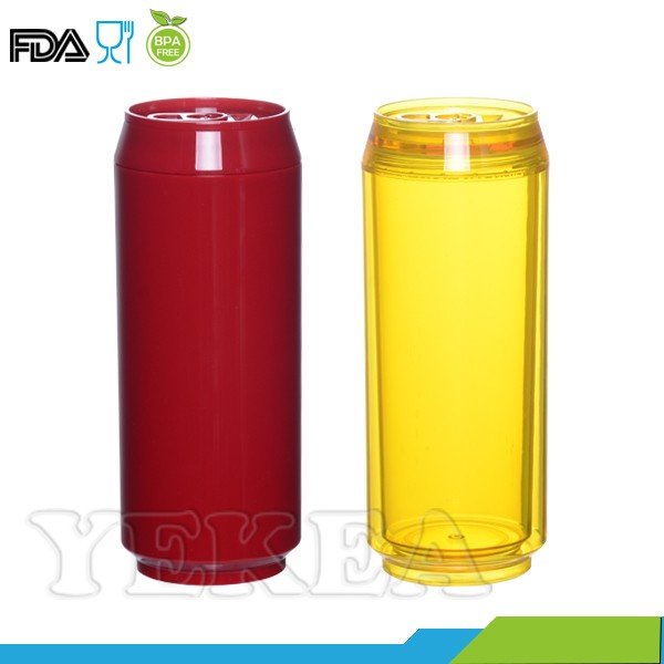 16oz Double Wall plastic printing transparent soda can with lid