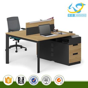 Wood Tabletop Office Desk For 2 People Workstation Divider Workstation