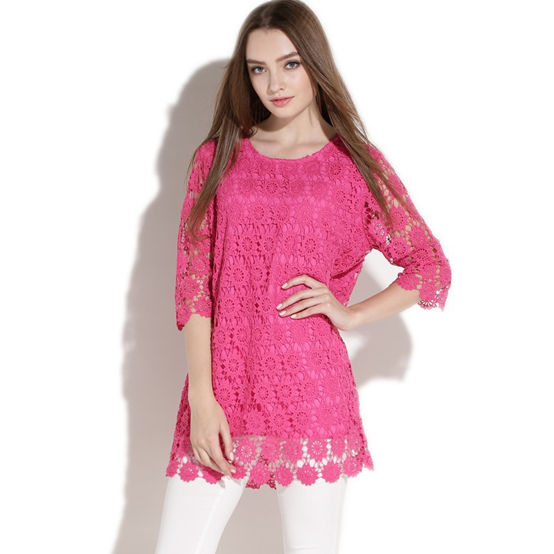 2015NEW Autumn Ladies Casual Lace Dress with lining Women Three quarter Sleeve O neck Dress elegant vestidos plus size XXXXL2512